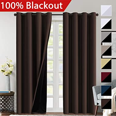 Flamingo P 100% Blackout Curtains 84 inches Long Lined Curtains 84 Inches for Bedroom Grommet Thermal Insulated Blackout Curtains Energy Saving Double Layer Curtains for Living Room, Brown, Set of 2