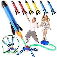 Bonbell Juguete Cohete de Aire, Lanzacohetes de Juguete para Niños, Juguetes al Aire Libre con 6 Cohetes de Espuma…