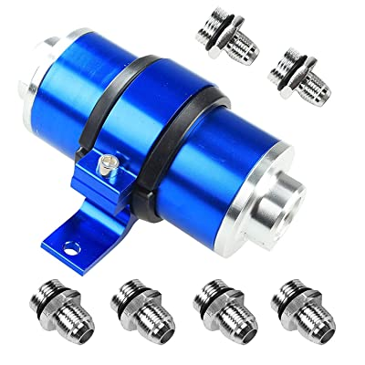 Billet Aluminum Inline Fuel/Gas/Petrol Filter+Bracket Cleanable 30 Micron for AN6 AN8 AN10 Blue: Automotive