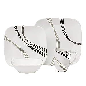 Corelle Boutique Square Urban Arc 16-Piece Dinnerware Set, Service for 4