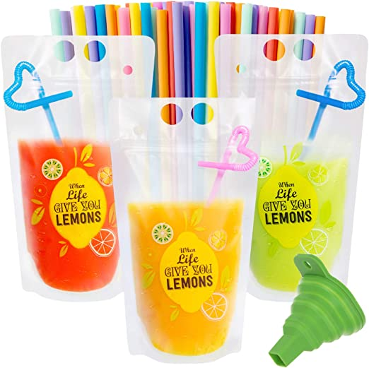 50 Pcs Drink Pouches for Adults, Frosted Translucent Reclosable Drink Bags, Juice Pouches for Cold & Hot Drinks with 50 Straws & Funnel