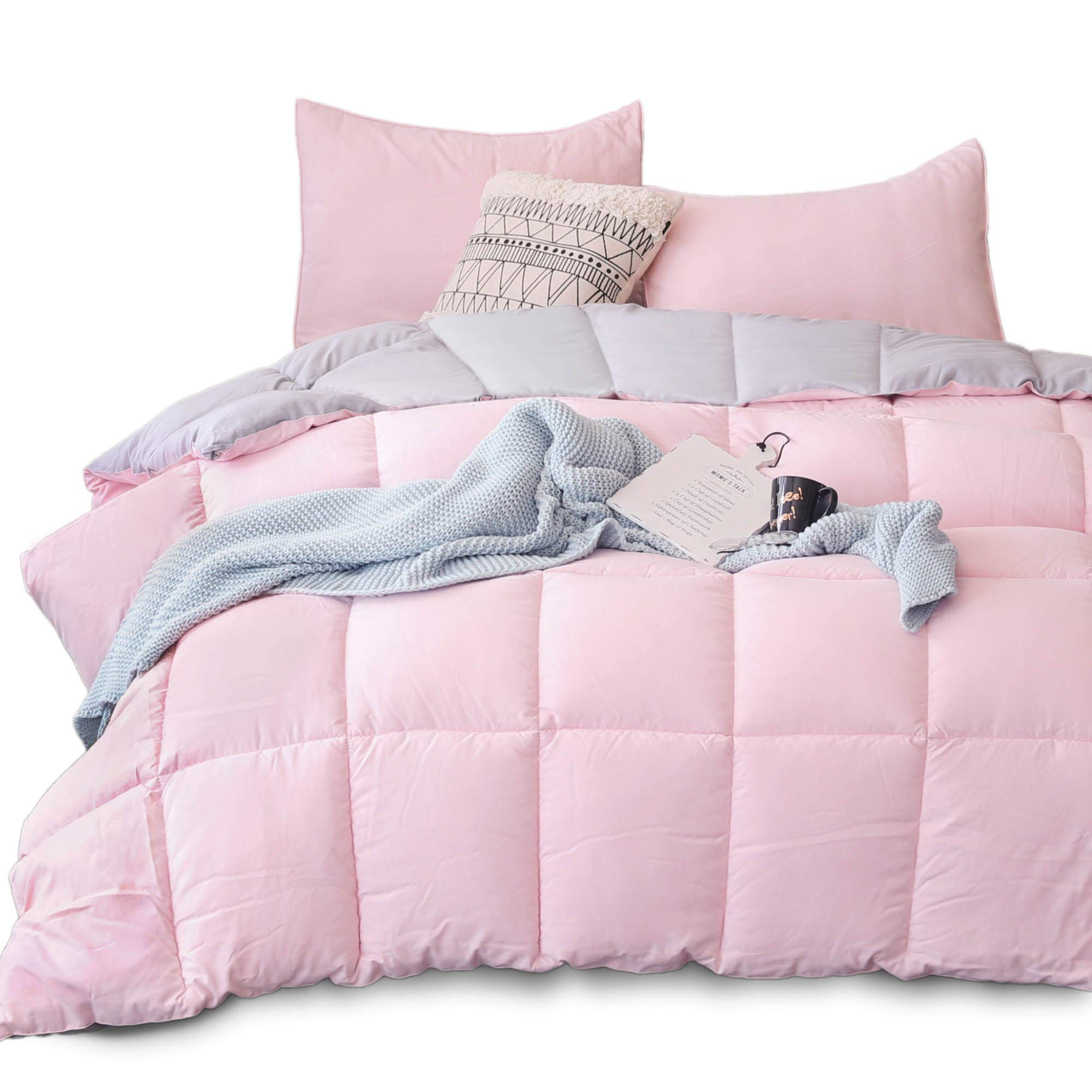 KASENTEX All All Season Down Down Alternative Quilted Comforter Set with Sham(s) - Reversible Ultra Soft Duvet Insert Hypoallergenic Machine Washable, Pink Potpourri/Quartz Silver by KASENTEX (Image #2)