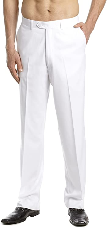 1930s Men's High Waisted Pants, Wide Leg Trousers CONCITOR Mens Dress Pants Trousers Flat Front Slacks Solid WHITE Color $34.95 AT vintagedancer.com