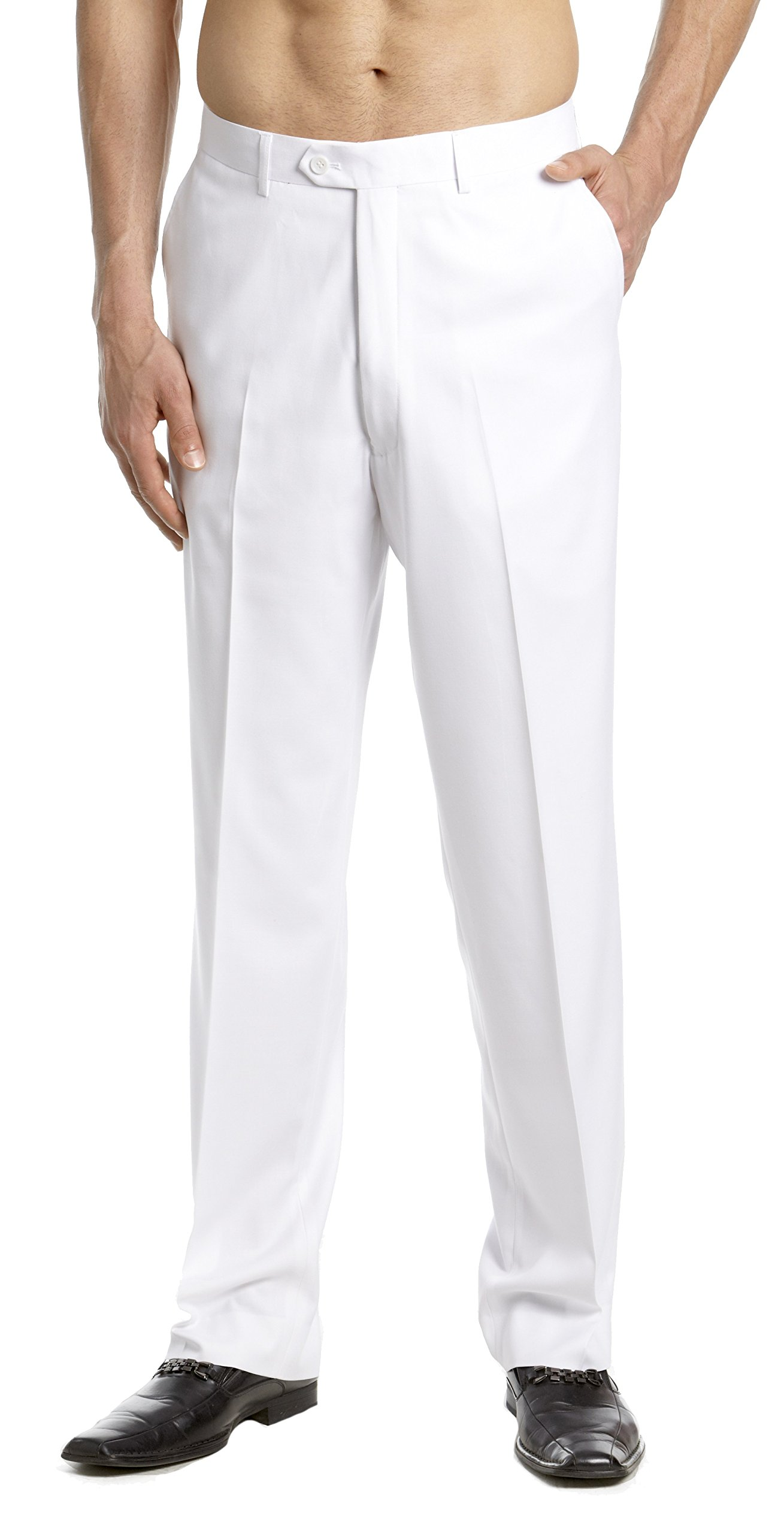 CONCITOR Men's TUXEDO Pants Flat Front with Satin Band Solid WHITE Color 34