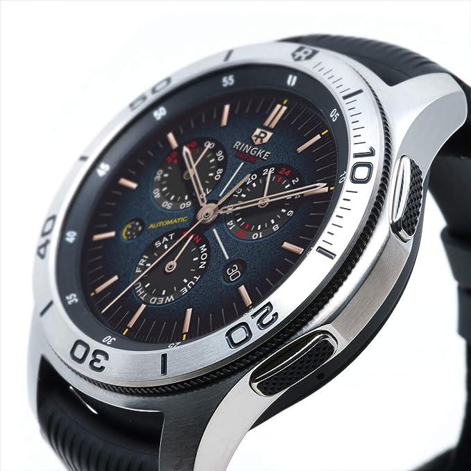 Ringke Bezel Styling para Galaxy Watch 46mm / Galaxy Gear S3 Frontier y Classic Bisel Ring Adhesive Cover Anti Scratch Protección de Acero Inoxidable [Inoxidable] para Galaxy Watch Accesorio GW-46-16: Amazon.es: Electrónica