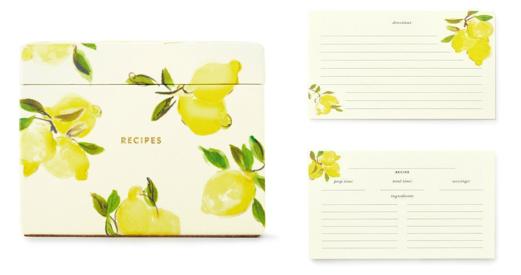 Kate Spade New York Women's Recipe Box Card Holder with Tabbed Dividers and 80 Recipe Cards Set, Lemon by Kate Spade New York