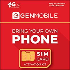 Gen Mobile $13/Month Plan |Unlimited Talk & Text + 1GB for 3 Months | SIM Kit C Works for iPhone 5c, 5s, SE, 6, 6+, 6s+, 7, 7+, Galaxy S6, S6 Edge, S7, S7 Edge, Google Pixel/XL, LG G5