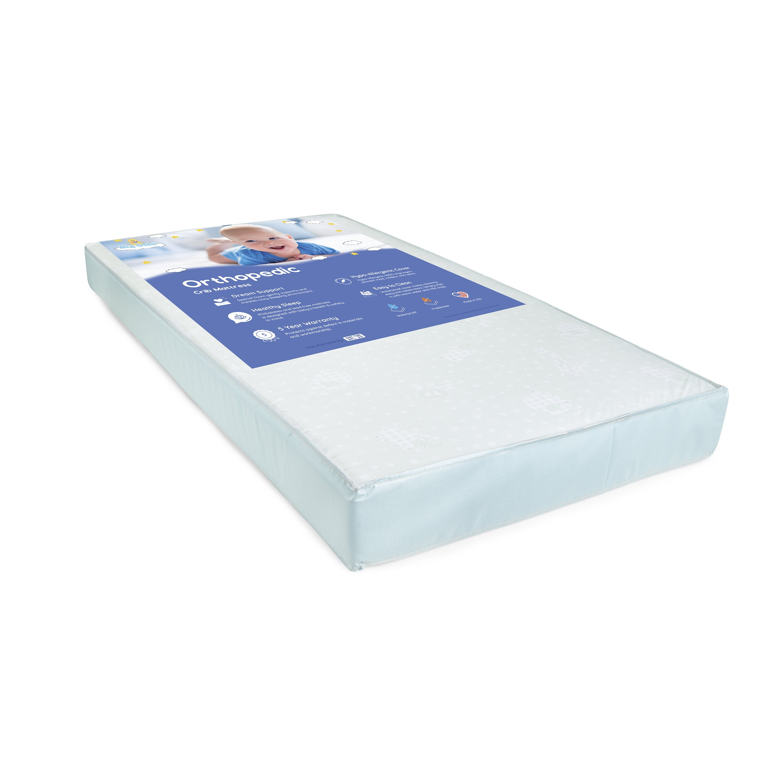 Big Oshi Foam Crib Mattress - Fits Full Size Baby Cribs and Toddler Beds - 5'' Thick - Includes Waterproof Cover for Easy Cleaning - Safe, Non-Toxic Material - for Boys and Girls - White, 52''x27.5'' by Big Oshi