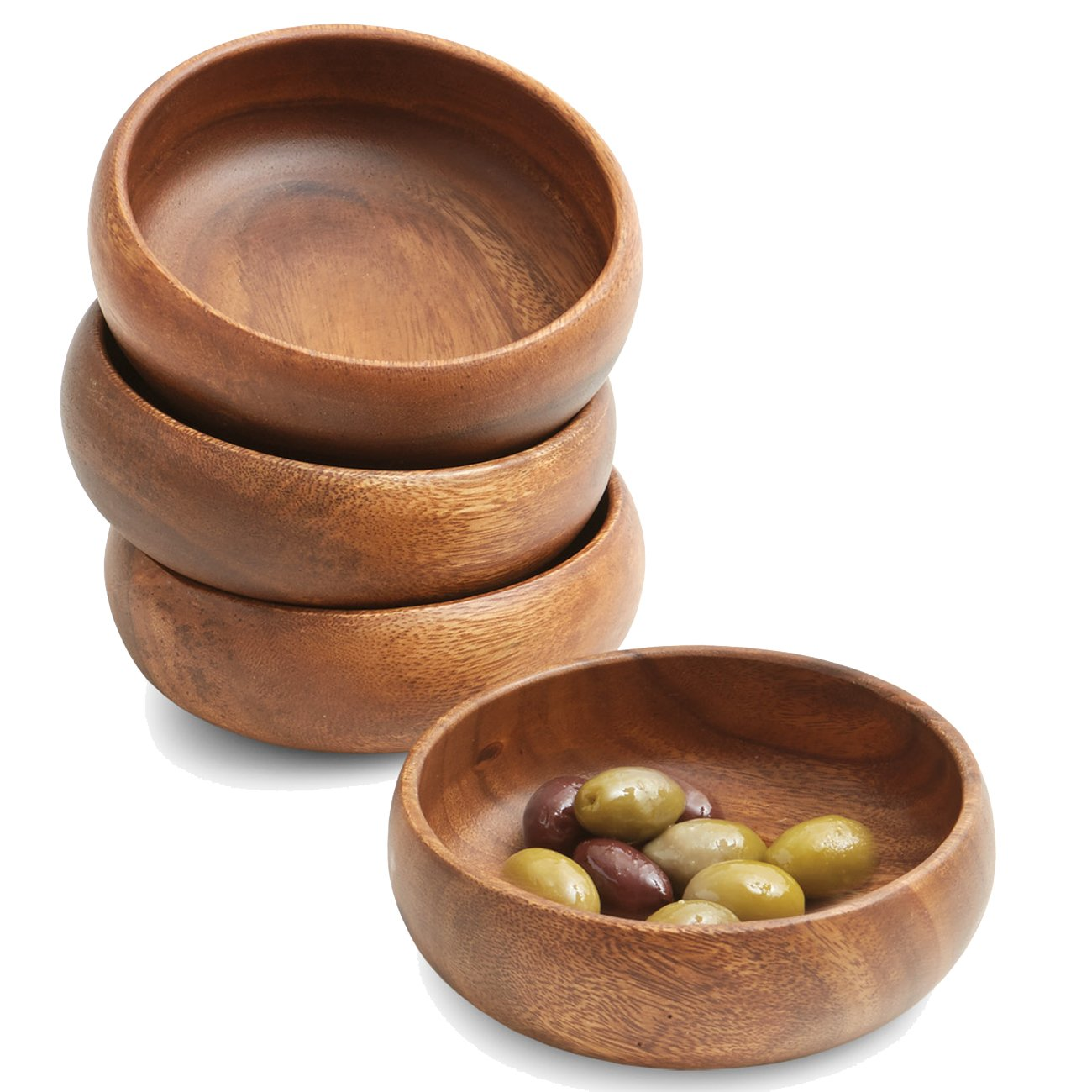 Woodard & Charles WTT290-4 Acacia Wood Snack Bowl, Set of 4, 6'' x 2''