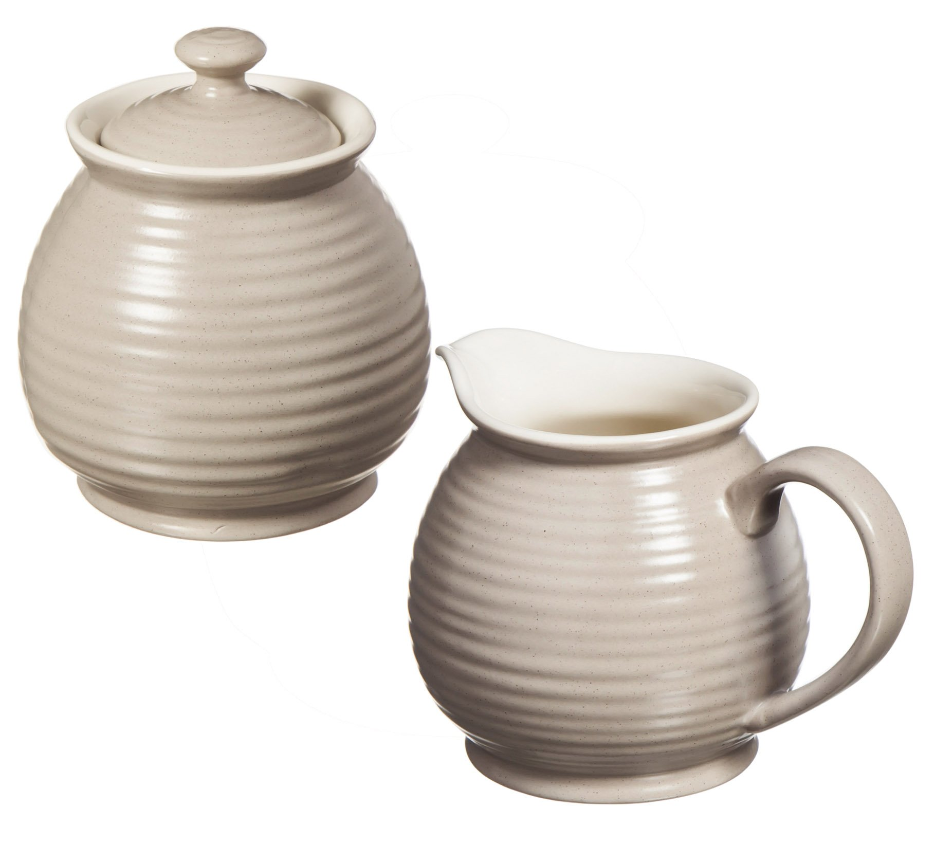 Cypress Home Shiloh Embossed Ceramic Sugar Pot and Creamer, Set of 2