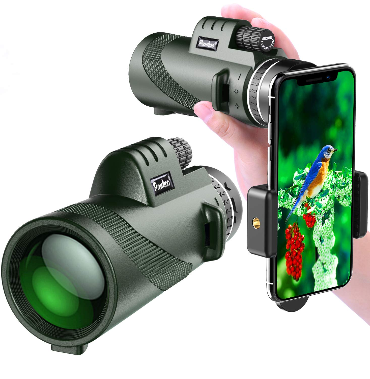 Pankoo Monocular Telescopes 40x60 High Power Prism Monocular HD Dual Focus Scope for Bird Watching,Wildlife,Traveling,Concert,Sports Game,Gifts for Adults with Phone Adapter&Tripod …