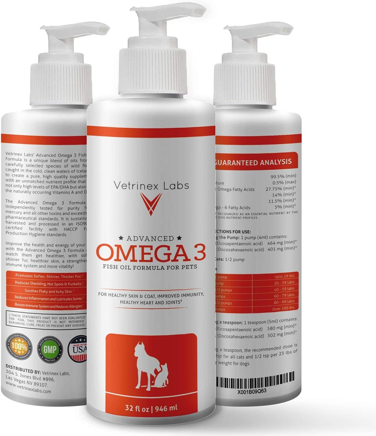 Pure Wild Caught Omega 3 Fish Oil for Dogs & Cats - Unique All Natural Formula Supports Healthy Skin & Coat, Joints, Heart & Immune System - Higher Levels of EPA & DHA than Salmon Oil (32 Oz)