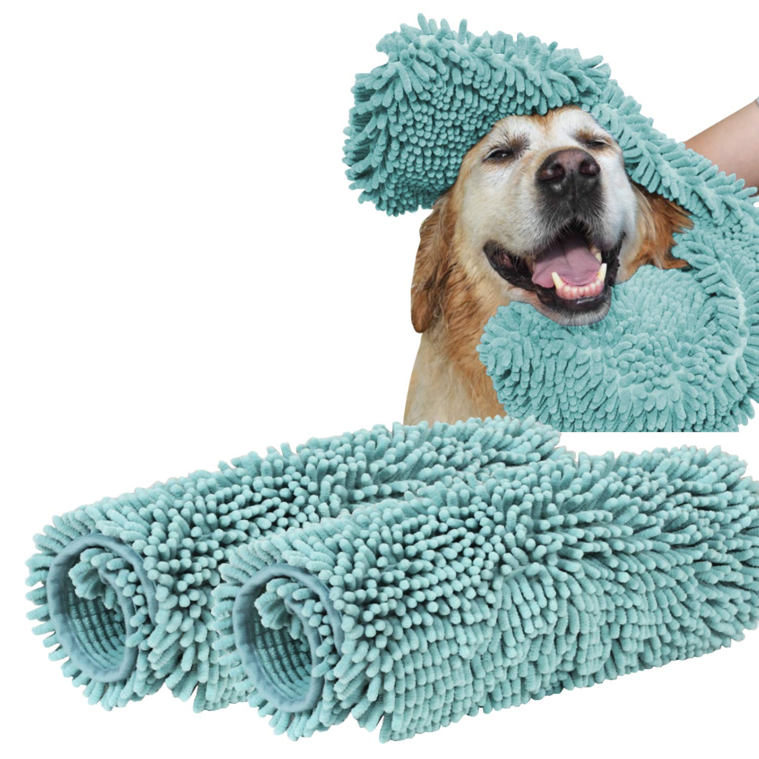 Turquoize Ultra Absorbent Dog Towel Super Shammy with Hand Pockets Microfiber Chenille Dog Bath Dry Towel Washable Grooming Animal Towel Duckshell Blue-2 Pack Size 24'' by 14''