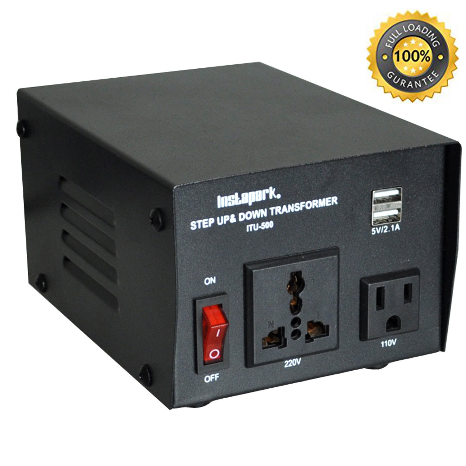 Instapark ITU-500 Voltage Converter: AC 110V / 220V 500W Step-up and Step-Down AC Voltage Transformer with Maximum Load Capacity (MLC) - 500 Watts