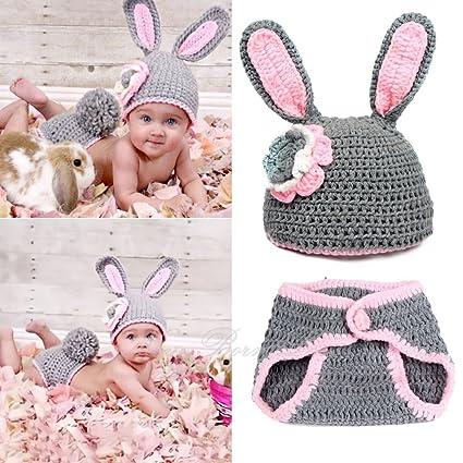 Yazi gris disfraz de conejo ganchillo recién nacido bebé traje ...