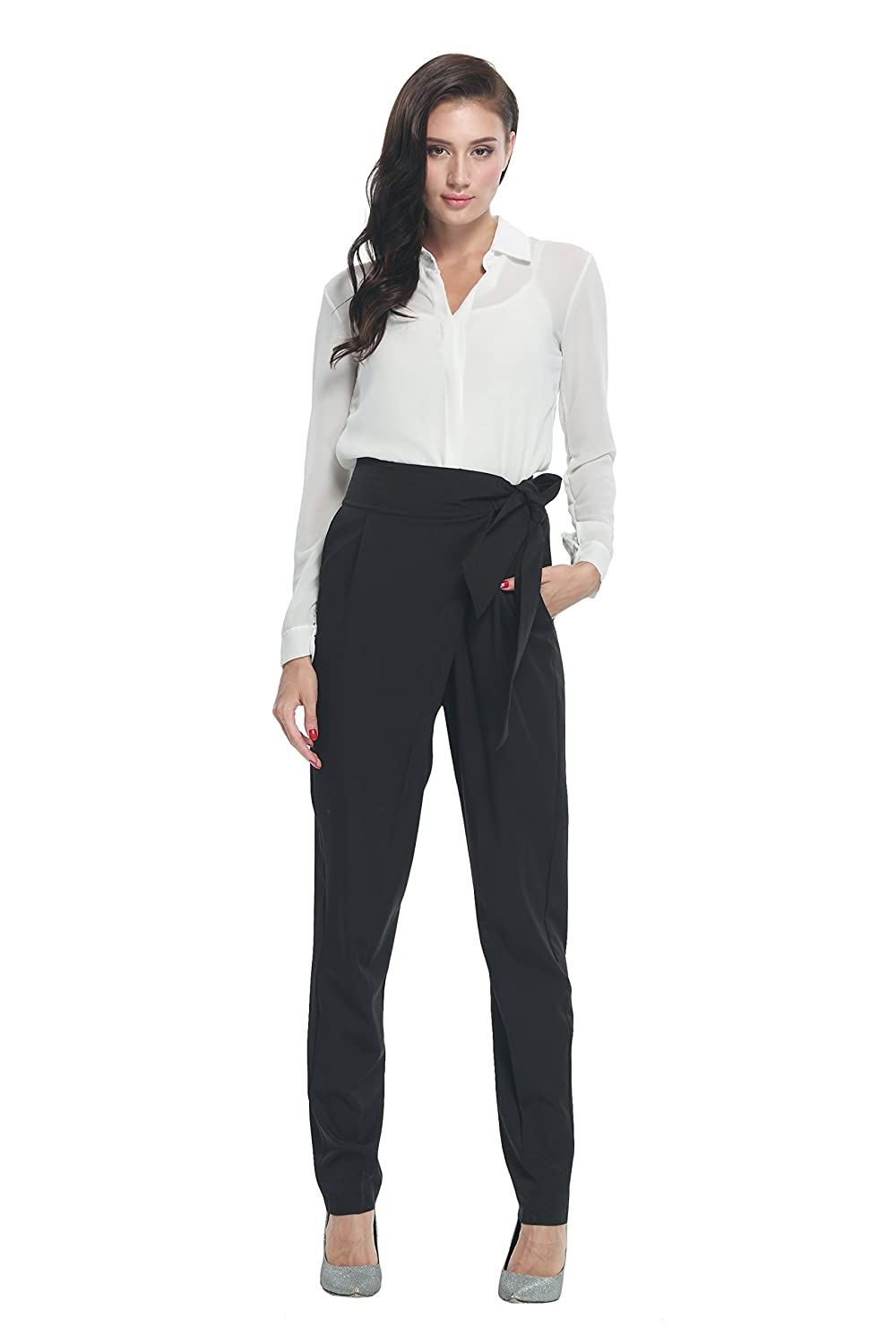 Cityoung Women's Sash Tie Detail Crossover Pants