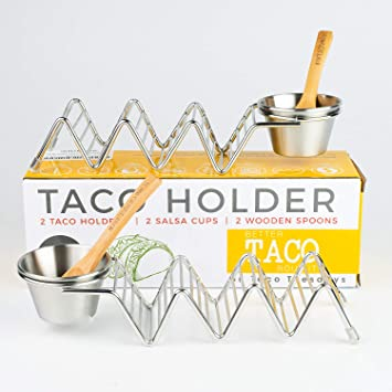 Amazon.com | Taco Shell Stand Up Holders - 2 Pack Premium Stainless Steel Oven & Dishwasher Safe Taco Holder, Holds 3 Tacos Each Keeping Shells Neat ...