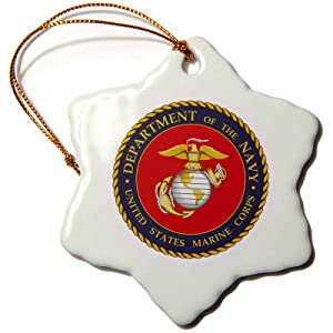 3dRose orn_113653_1 Department of The Navy. United States Marine Corps. Military-Snowflake Ornament, Porcelain, 3-Inch