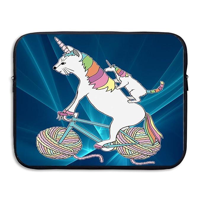 Mobedany Cat Unicorn y unicornio gato que es montar una bicicleta para ordenador portátil bolsa para