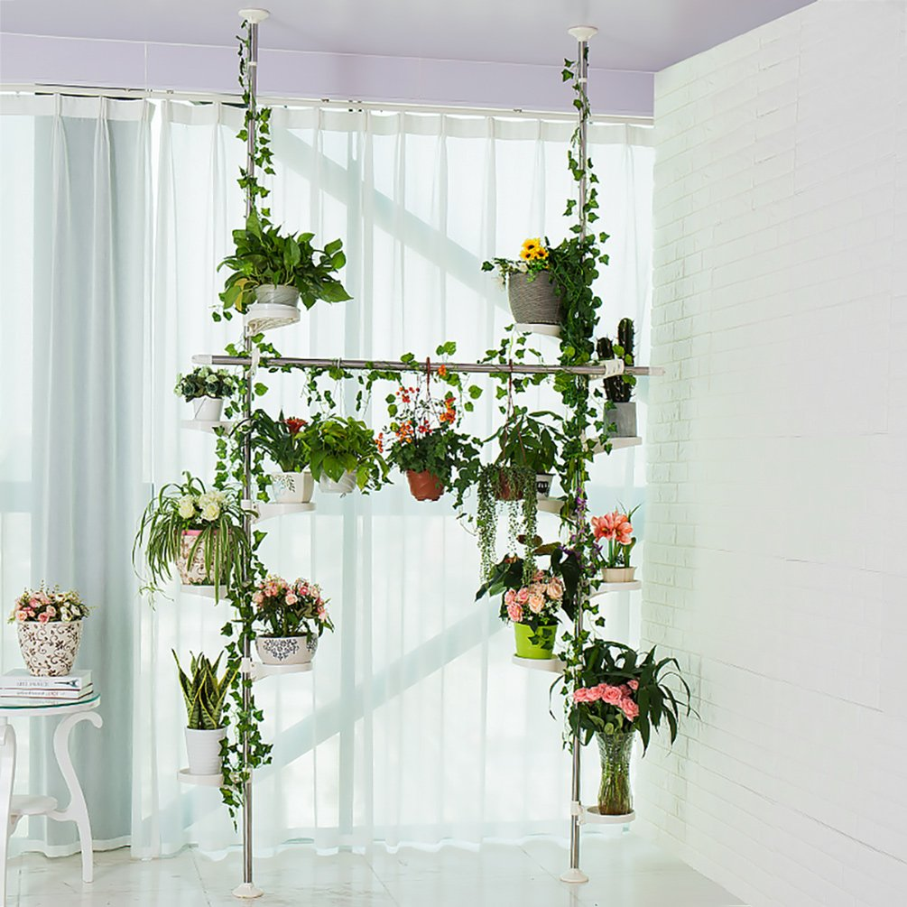 Baoyouni Indoor Plant Stands Spring Double Tension Pole Metal Flower  Display Rack Space Saver Corner Floral Pot Storage Shelf with 12 Trays, 2  Hooks &
