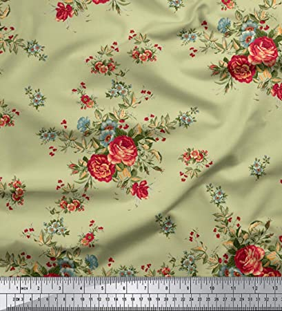 58 Wide Floral Printed Viscose Rayon Fabric 115 GSM Supply By The 1 Yard Indian