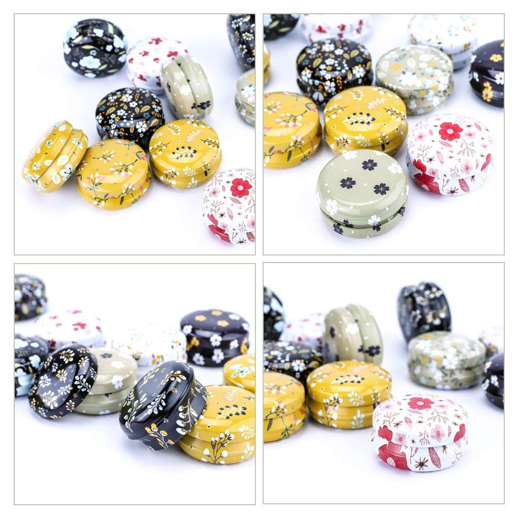 F Rolin Roly 12 Pcs Tinplate Empty Tins Candle Tin Jars Balm Aromatherapy Spices Container Round Reusable Mini Aluminum Cans with Lids Candy Jar