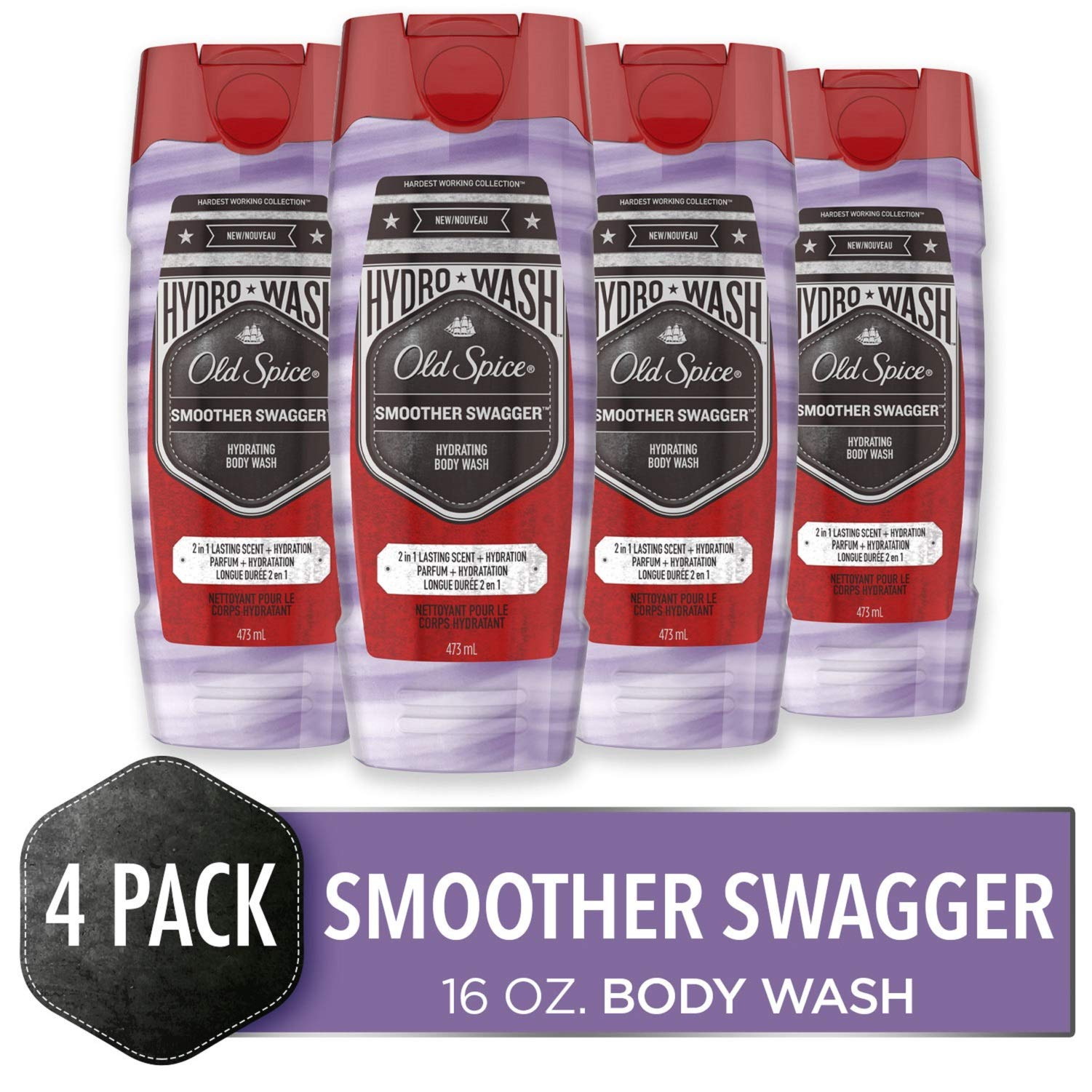 Old Spice Hydro Body Wash for Men, Smoother Swagger Scent, Hardest Working Collection, 16 Ounce (Pack of 4) by Old Spice