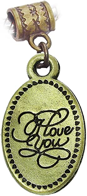 I Love You Cursive Words Oval Bronze Dangle Charm for European Bead Bracelets Fashion Jewelry for Women Man
