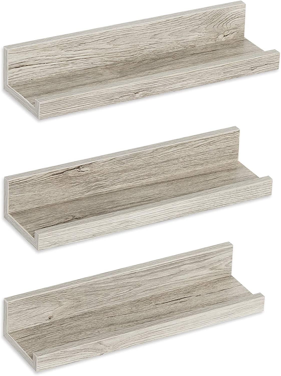 Americanflat Driftwood Floating Shelves with Lip Set of 3 - Composite Wood Wall Mounted Display Ledges for Bedroom, Living Room, Bathroom, Kitchen, and Office