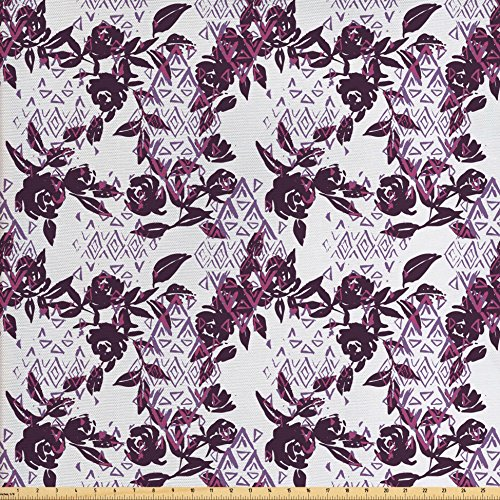 Ambesonne Rose Fabric by The Yard, Vintage Watercolor Pattern Grunge Flowers Bouquets and Geometric Shapes, Decorative Fabric for Upholstery and Home Accents, Plum Dried Rose Lavender ()