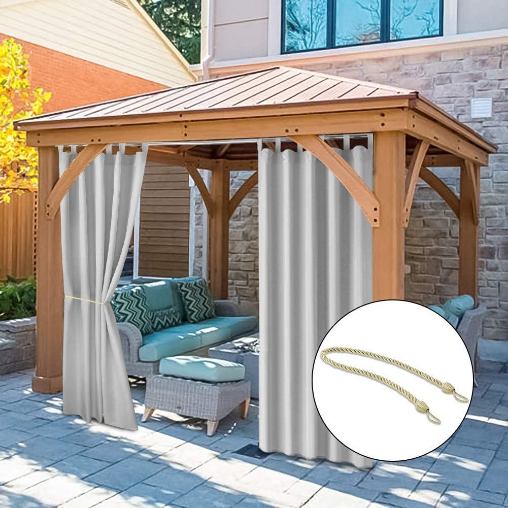 Cortina y cortina para exterior Pro Space de 127 x 120 cm para pergola/patio/porche opaco con protección contra rayos UV, impermeable, resistente al moho, con gancho y pestaña superior gris cortinas con