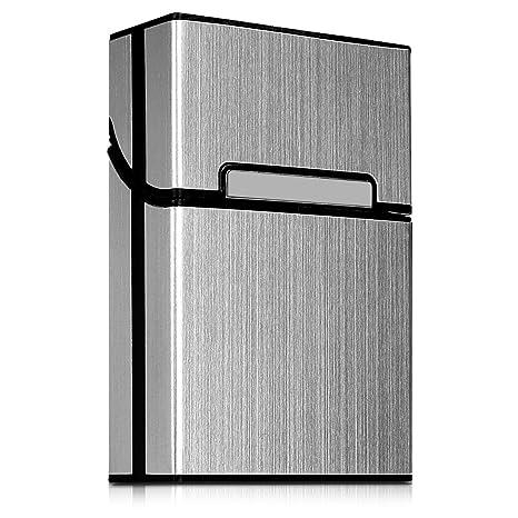 kwmobile Funda Protectora para Cigarrillos - Estuche Protector de [Aluminio] con [Cierre magnético] para cigarros en [Plata]