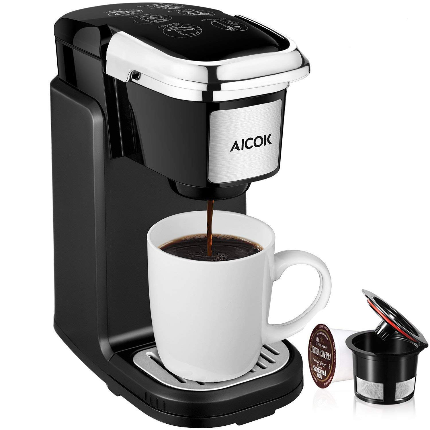 Aicok Single Serve Coffee Maker with Removable Cover Quiet and Quick Brew Technology for Most Single Cup Pods Including K-Cup pods, 800W, Black