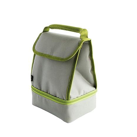 Quid Portamenú con 2 Contenedores Golunch Envases para Alimentos-Bolsas para Llevar Comida y sándwiches, Tela, Gris y Verde, 19 x 14 x 26 cm