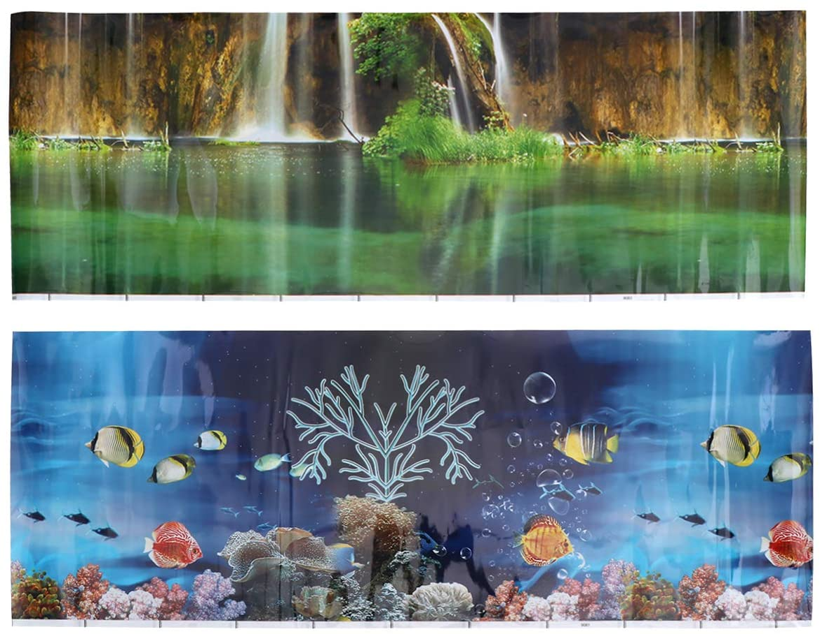 Yinuoday Aquarium Background 3D Fish Tank Background 10//20 Gallon Aquarium Adhesive Backdrop Sticker Wallpaper Decoration PVC Decor Paper Cling Decals Poster