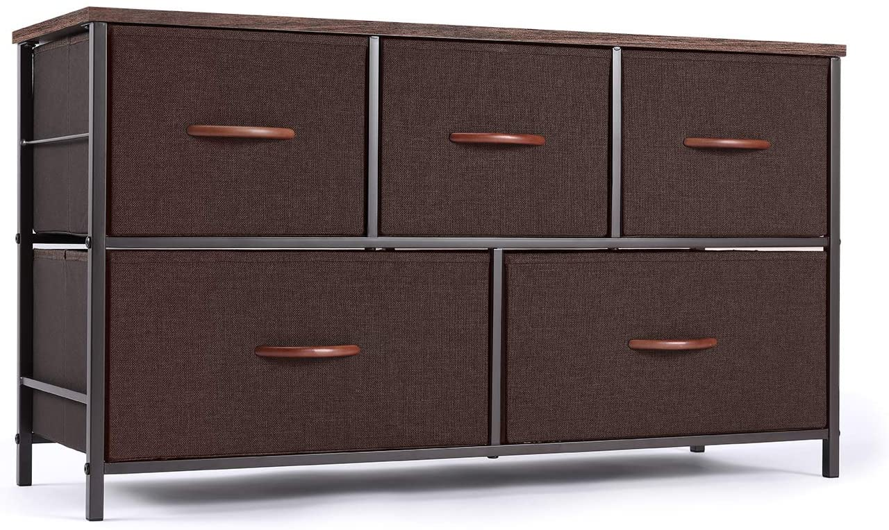 ROMOON Dresser Organizer with 5 Drawers, Fabric Storage Drawer Unit, Dresser Tower for Bedroom, Hallway, Entryway, Closets, Nursery - Wide Espresso
