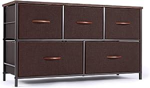 ROMOON Dresser Organizer with 5 Drawers, Fabric Storage Drawer Unit, Dresser Tower for Bedroom, Hallway, Entryway, Closets, Nursery - Wide Espresso