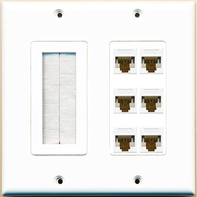 RiteAV 2 Gang Decorative Mesh-Brush Coax Cat6 White Wall Plate White