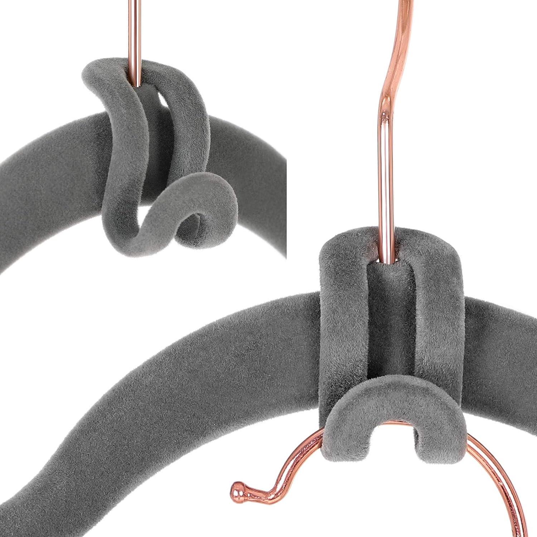 Antideslizante Ahorra Espacio Gris CRF61G Conector de Perchas con Superficie de Terciopelo de Calidad Paquete de 30 Ganchos de Cascada SONGMICS Mini Percha