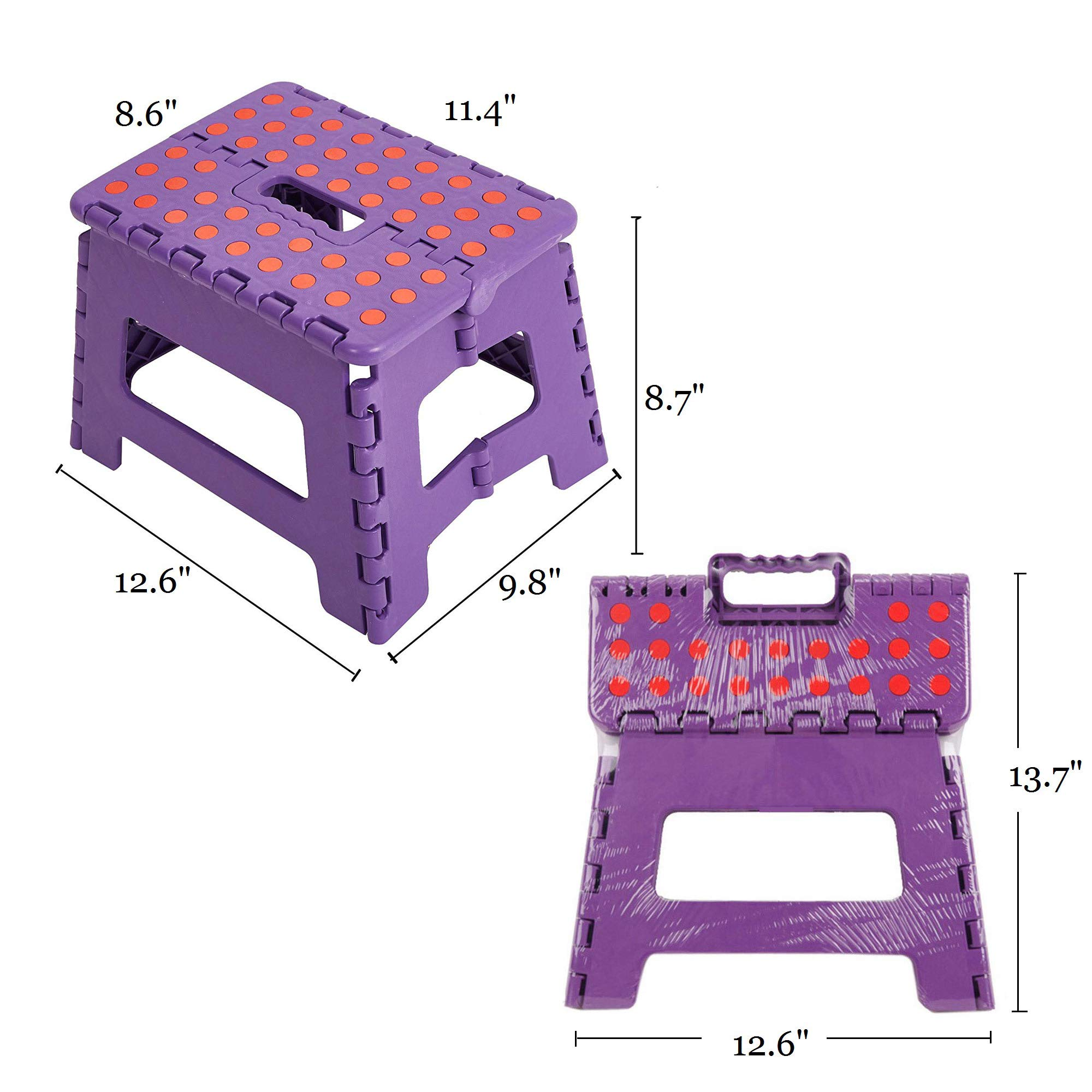 Bathroom Garden Dporticus Super Strong Folding Step Stool with Handle 300 LB Capacity for Adults Toddlers and Kids Kitchen