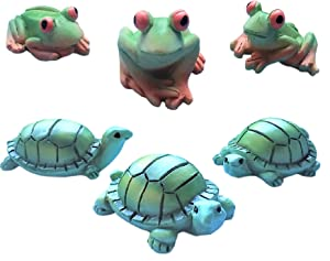 """Miniature Fairy Garden Realistic Tiny 1.5"""" x 1"""" Green Turtles and 1"""" Green Frogs - Made of Resin - for Outdoor or House Decor - Bundle of 6 Mini Garden Pond Water Animals - Farm Woodland Creatures"""