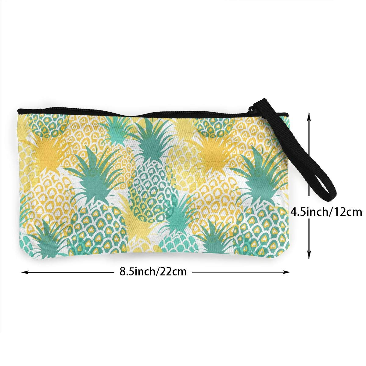 Bk55Oi/&/& Womens Retro Coin Purse Pineapples Pattern Canvas Card Wallet with Zipper for Women