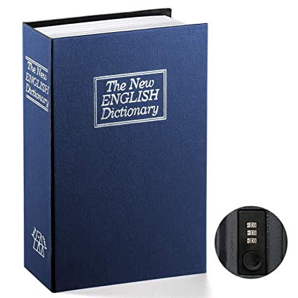 Book Safe with Combination Lock - Jssmst Home Dictionary Diversion Metal  Safe Lock Box 2017, SM-BS0406L, Navy Large