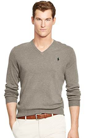 Ralph Lauren Men's Polo V-Neck Pima Cotton Pony Logo Sweater at ...