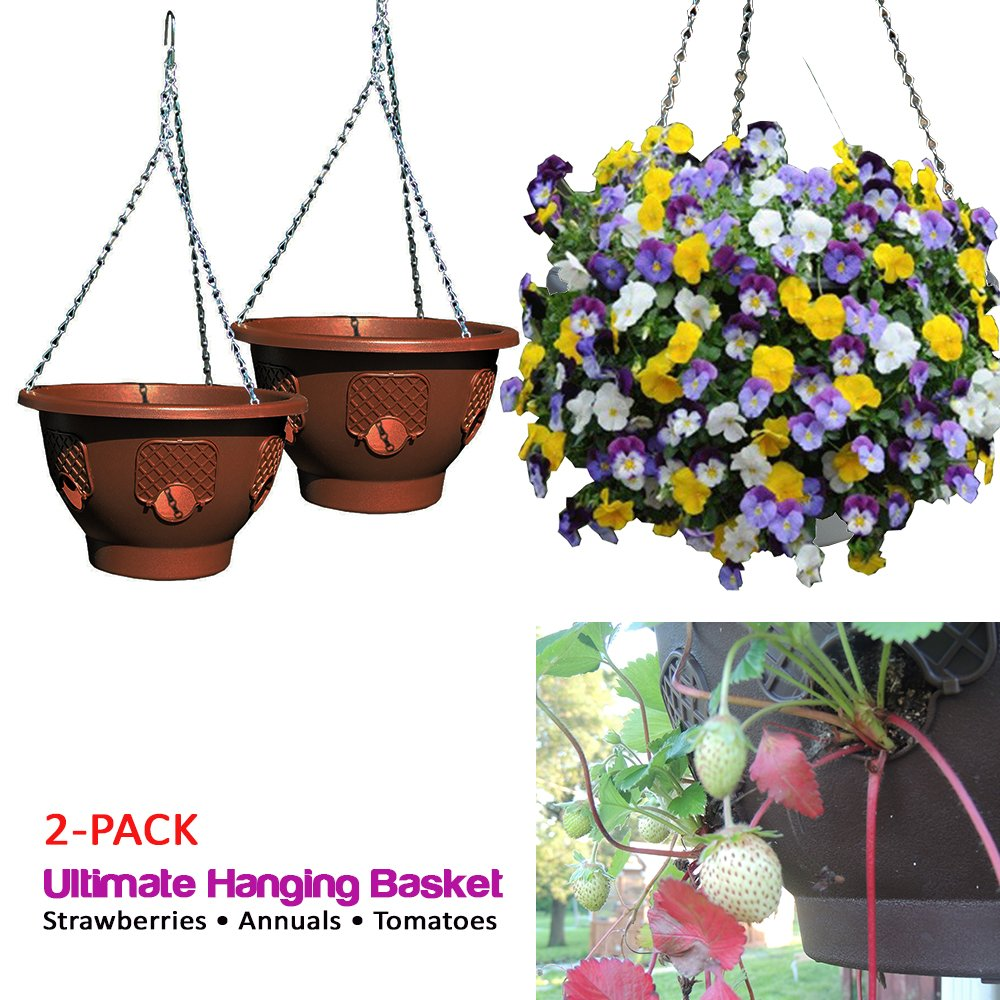 Ultimate Hanging Baskets - Strawberry, Tomato, Flower, and Herb Outdoor Planters - Use Garden Pots For Growing Plants Outside On A Deck, Fence, or Balcony (2, Mocha)