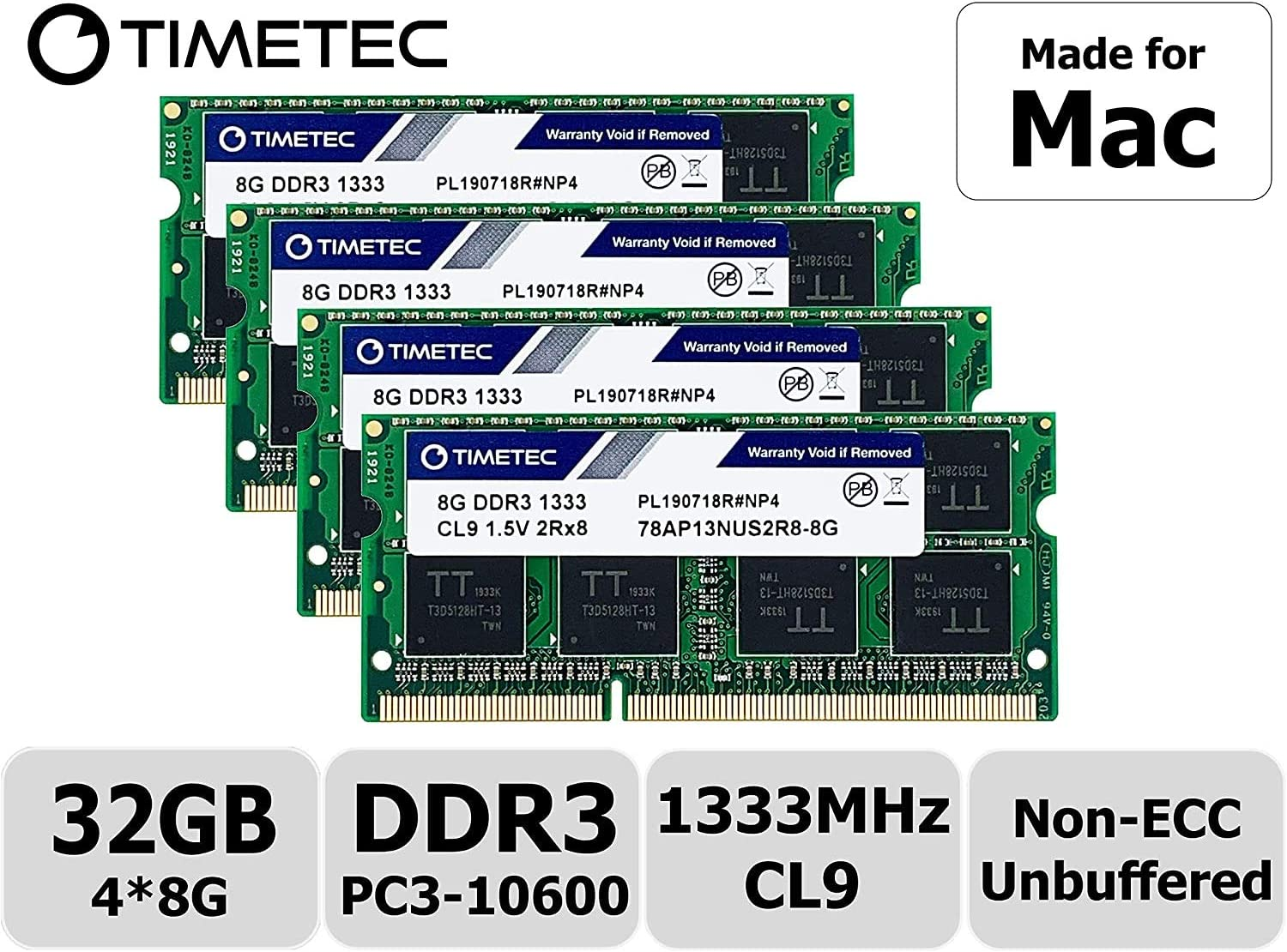 Timetec Hynix IC 32GB KIT(4x8GB) Compatible for Apple DDR3 1333MHz PC3-10600 for iMac (Mid 2010 27 inch, Mid 2011 21.5/27 inch) MAC SODIMM Upgrade | MAX RAM Upgrade for iMac 11,3 iMac 12,1 iMac 12, 2