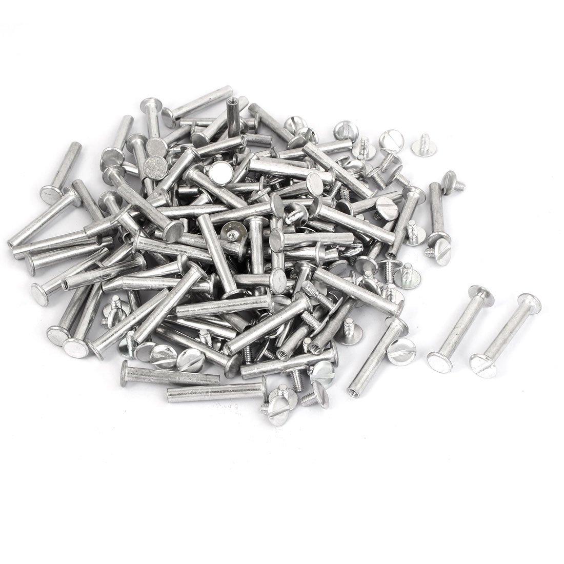 uxcell M5x32mm Aluminum Binding Screw Post 100pcs for Photo Albums Scrapbook