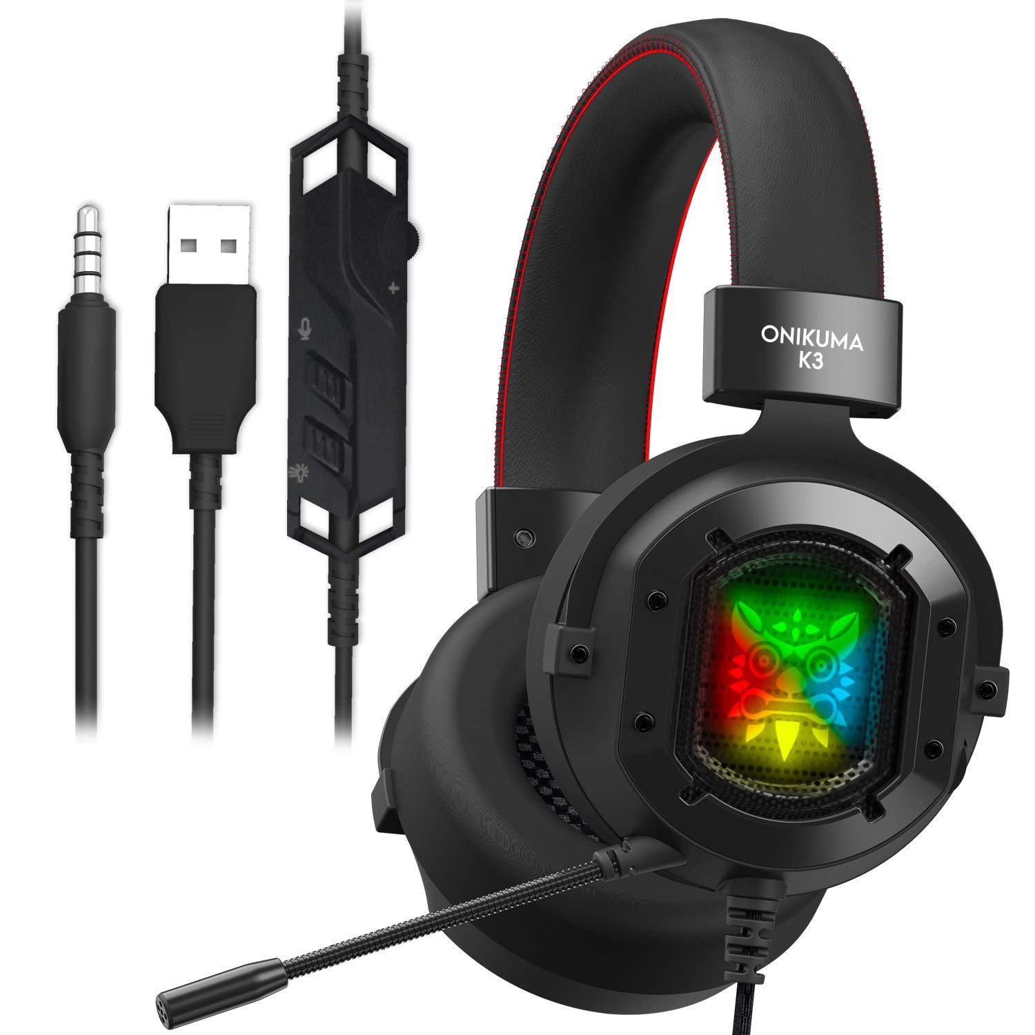 ONIKUMA K3 Stereo Gaming Headset for Xbox One, PC, PS4 Over-Ear Headphones with Noise Canceling Mic, Soft Breathing Earmuffs, LED Light, Mute Volume Control for Mac Laptop Tablet Smatphone