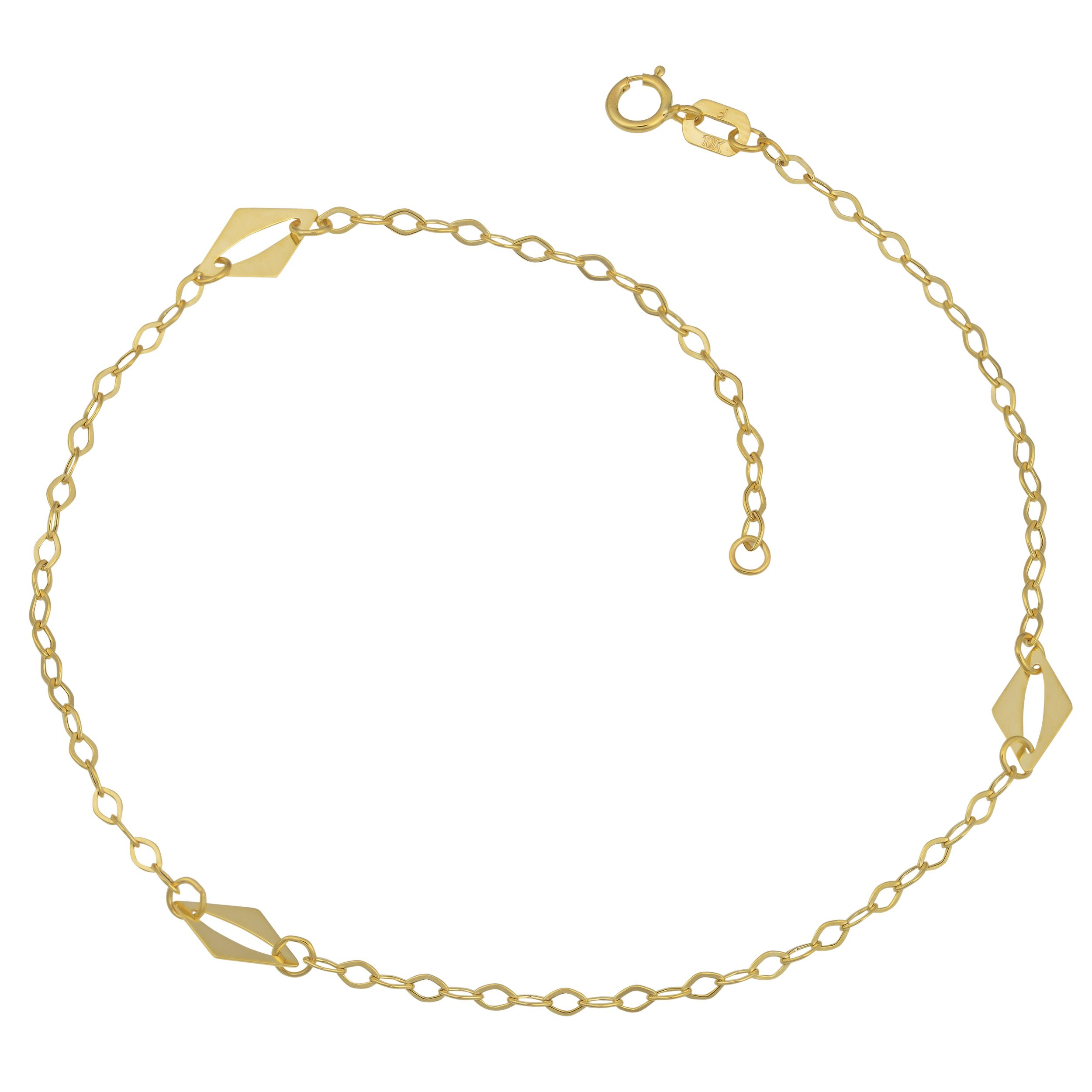 10k Yellow Gold High Polish Station Anklet (10 inch)