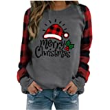 AIHOU Christmas Shirts for Women Gnome Reindeer Graphic Plaid Splicing Tops Long Sleeve Sweater Plus Size Trendy…